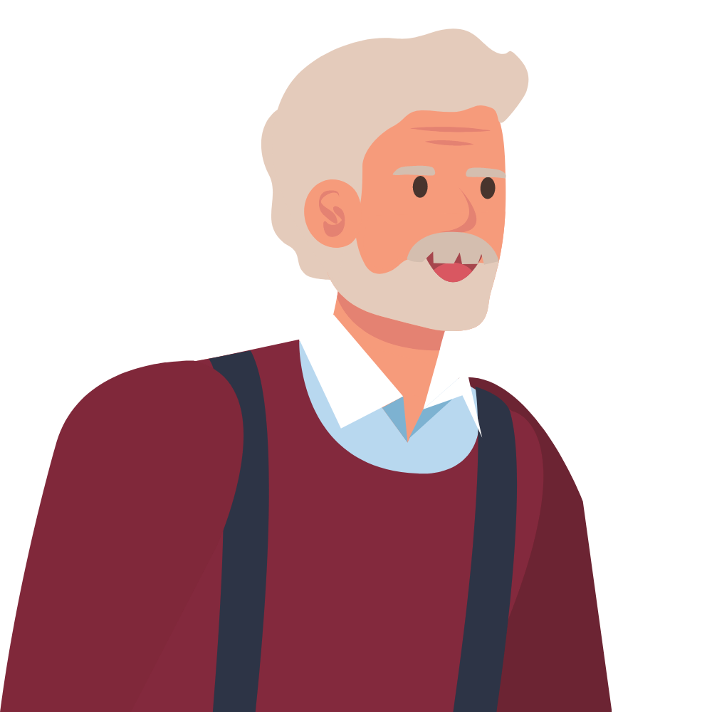 Drawing of a man with grey hair and a beard