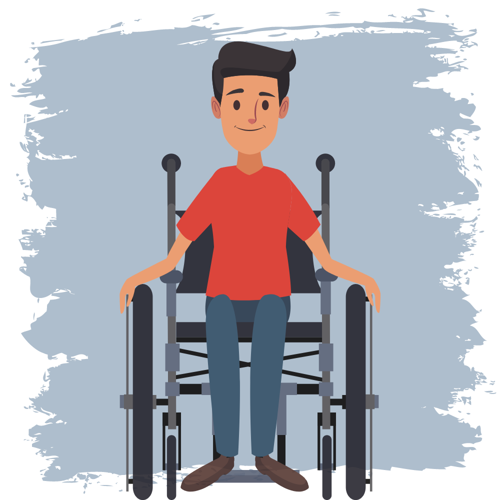 Drawing of a man using a wheelchair